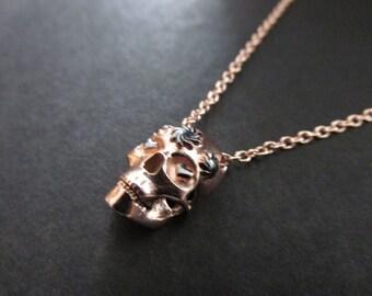 Skull Necklace, Silver Skull Pendant, Tiny Skull Necklace- Womens Necklace,Sugar Skull Necklace, Womens skull necklace,Silver Skull Necklace