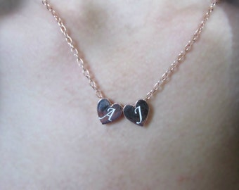 Friendship Necklace, Two Heart Necklace, Tiny Heart Necklace,Initial Heart Necklace,Lase Engraved Necklace, Heart Necklace, Initial Necklace