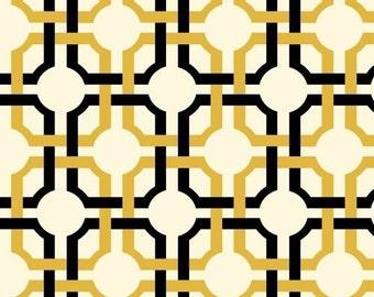 "Geometric Fabric: Waverly fabric - So Chic black and gold INTERLOCKING GRID fabric  100% cotton Fabric by the yard 36""x44""  (C287)"