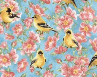 """Floral Fabric:  Goldfinch Garden by Dona Gelsinger for Timeless Treasures  100% cotton fabric by the yard 36""""x44"""" (H120)"""