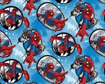 "Marvel Fabric, Comics Fabric:  Marvel Comics - Spiderman Fabric Badges Toss on blue  100% cotton fabric by the yard 36""x43"" (K32)"