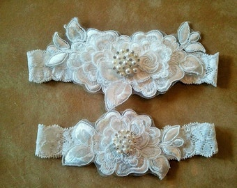 Wedding garter, Bridal Garter Set - OFF WHITE  Flower Wedding Garter Set
