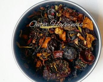 Berry Champagne Black Tea. Cranberry tea, champagne tea, blueberry tea, organic tea, vegan tea, yoga tea, meditation tea, energizing tea,