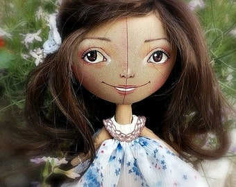 The souvenir interior doll , art doll, handmade doll, collecting doll, OOAK doll.