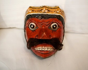 19th Century Java Dieng Mask Wooden Painted Antique Mask