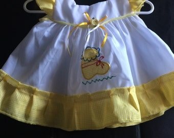 Yellow Plaid Dress and Diaper Cover