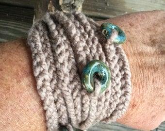 Crocheted cord cuff bracelet