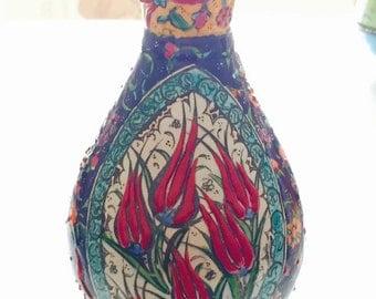 HANDMADE TURKISH VASE- Vintage Inspired Vass Intricately Hand Painted From Turkey