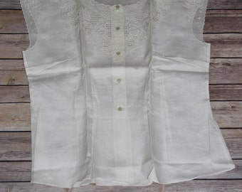 Vintage White Linen Shirt with Embroidery Detail