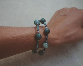 Jade Morse code bracelet