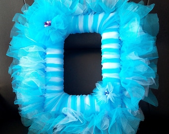 Tulle frame blue turquoise and sky blue