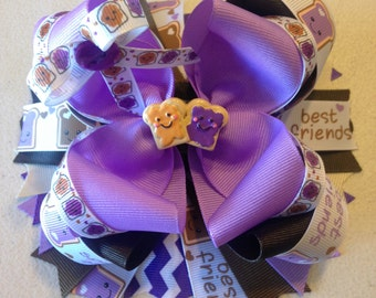 Hair bows,, best friends Hair bows,Boutique Hair bows,PB & J, Boutique Bows,Stacked bows, Stacked hair bows, layered hair bows