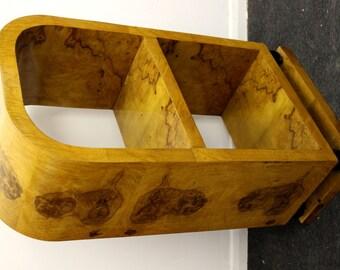 Antique ART DECO STYLE Small Bookcase In Walnut - Library Shelf Unit- C45