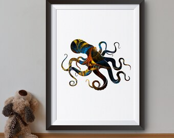 Octopus Art Print - Ocean Poster - Sea Illustration - Wall Art - Home Decor