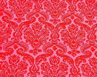 Dainty Damask Fabric Michael Miller Designer Fabric Pink Fabric Red Fabric Quilting Craft Fabric Cotton Fabric Damask
