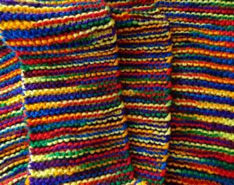 Handmade Bright Rainbow Knit Scarf