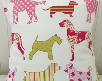Pink pooches decorative pillow