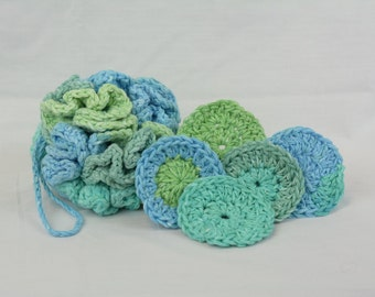 Crocheted Cotton Bath Pouf and Matching Facial Cleansing Pads