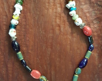 Colorful glass necklace