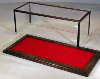 Walnut 1/24 Scale Model Car Display Case w/Red Felt Floor //Collectable Display Case//Model Display//Gifts for Collectors//Office Decor