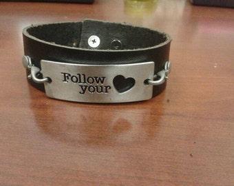 Follow Your Heart Black Leather Bracelet