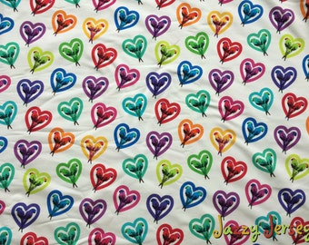 Rainbow parrots French terry fabric by half metre