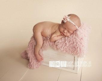 VEGAN, Animal Friendly Newborn Props, Pink Faux Flokati Fur Newborn Girl Photography Props, Washable, BasKet STuffeR, Peaceful Pink Baby Fur