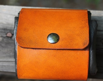 Leather dump pouch/waistband roll up bag