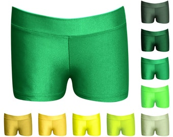 """Youth Assorted Greens & Yellows Dance Shorts - Shorties by LB Wear - 1"""" Fabric Waistband, 2"""" Inseam"""