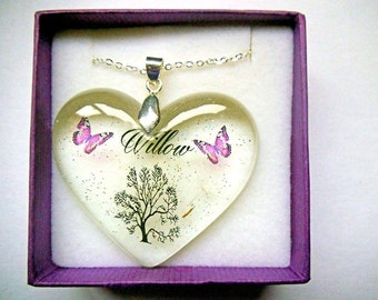 Example keepsake hair/ashes resin personalised  heart keepsake pendant necklace.
