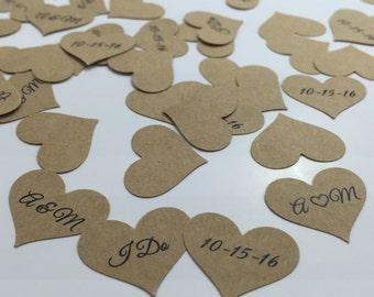 Kraft Confetti, Fall Wedding Confetti, Wedding Date Confetti, Initials Confetti, Wedding Confetti, Customized Confetti