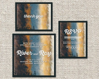 Desert Sky Wedding Invitation Package  | Wedding Invitation | Thank You | Engagement Announcement | Save the Date | Digital Download