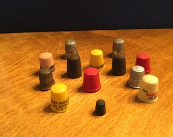 Assorted Vintage Plastic & Metal Thimbls