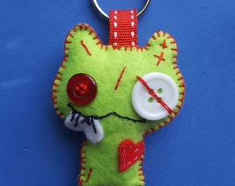 Green felt monster keyring