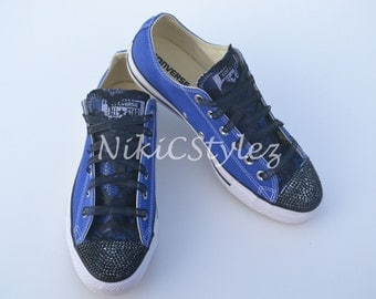 Lace and Stones - Blue/Black; Customized Converse Chuck Taylor All-Star.