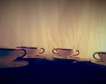 Set of Four Vintage Cups and Saucers from Haviland France