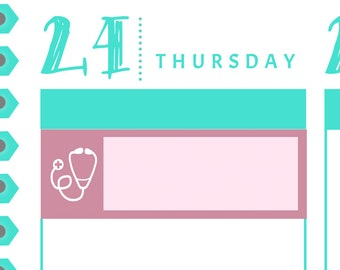 Doctor Icon Box Appointment Reminders {14 Fancy Matte or Glossy Planner Stickers, Double Rainbow Minimalist Theme} | #16-17