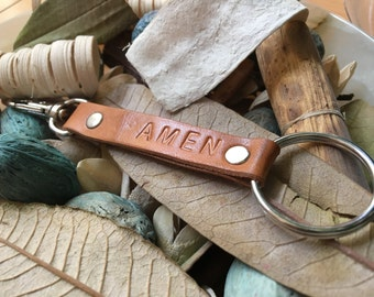 "Ready-to-Ship, Saddle Brown, Hand-Stamped, Vegetable-Tanned, Leather ""AMEN"" Key Fob, Key Chain, Key Ring, Lanyard, Purse Charm, Bag Charm"