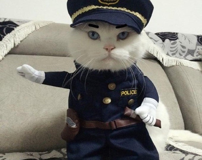 SALE!!! 25% Pet Clothing. Cat clothes, dog clothes. Funny clothing for the cat, Funny clothing for the dog. Costume Policeman.