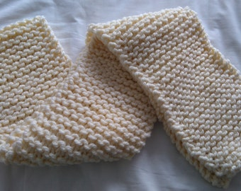 Super chunky cream knitted scarf