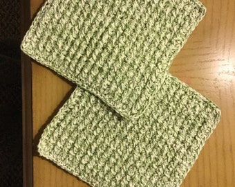 Green Wash/Dish cloth crocheted from 100% cotton