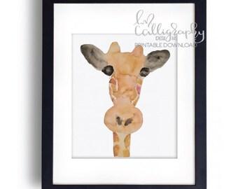 Watercolor Giraffe Home Decor - Digital Download