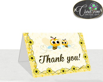 Baby Shower Bumble Baby Shower Bees Thank-you Note Thank-you Card THANK YOU CARD, Party Stuff, Shower Activity - bee01
