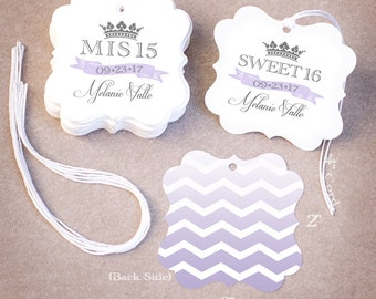 50 Quinceañera Favor Tags | Personalized Mis 15 Sweet 16 Favor Tags | Chevron