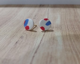 White with blue and pink spots stud earrings - polymer clay