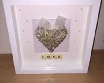 Love deep box frame with wicker heart and pearls