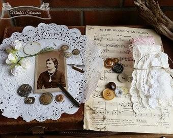 Vintage Haberdashery, Mixed Media Inspiration,Vintage Treasures, Metal Embellishments,Vintage Laces,Nib,Old Photos,Art Supply,Scrapbooking