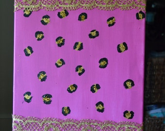 Original 16x20 Multi-Media Acrylic Painting with  Glitter Glue and Gold Lace Detail