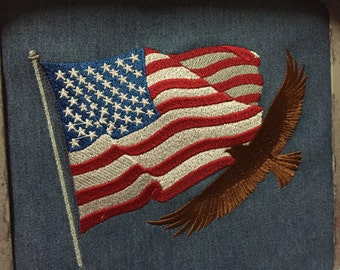 Embroidered Flag and Flying Eagle Silhouette  T-Shirt