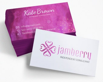 Jamberry Calling Card, Independent Consultant, Purple Business Card, Watercolor, PSD Template, Jamberry Marketing
